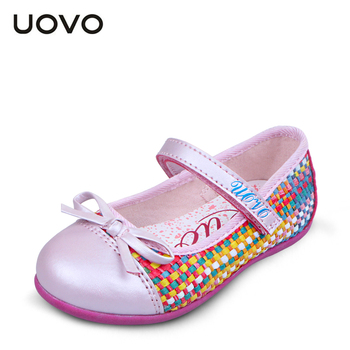 UOVO brand spring and summer kids girl shoes weaving princess shoes dress shoes girls flats shoes pink and blue color