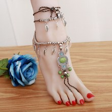 ZOSHI Women Foot Jewelry Boho Leaves Simulated blue stone Stone Muitilayer Beach Chain Gypsy Anklet Feet Bracelet Girl Bijoux(China)