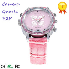 2017 Wifi DVR Watch Lady Pink P2P Pocket DVR WIFI Watch Built in 8/16/32G With Nice Pink Belt Round Watch(China)