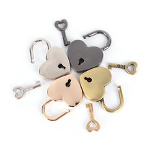 1PCS Mini Padlock Small Love Heart Shape Padlock Tiny Luggage Bag Case Lock With Keys Zinc Alloy Suitcase Locker(China)