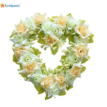 LumiParty Wedding Decoration Heart Shaped Artificial Flower Wreath Door Wall Hanging Wreaths Flowers Garland with Silk Ribbon