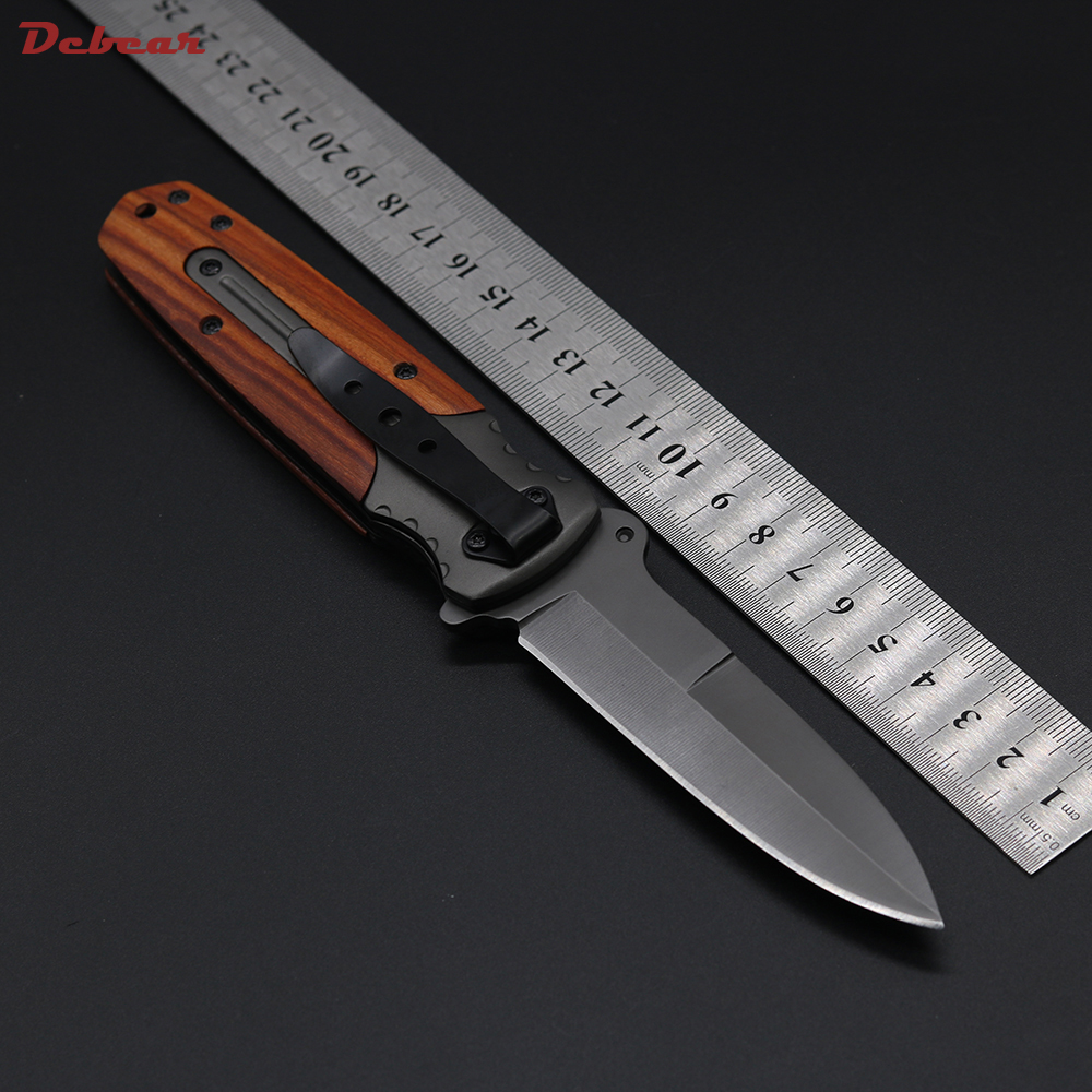 Dcbear DA59 Folding Knife Tactical Knife 3CR13 Camping Hiking Essential Equipment  Wild Rescue Knife Wood+Aluminium Handle<br><br>Aliexpress