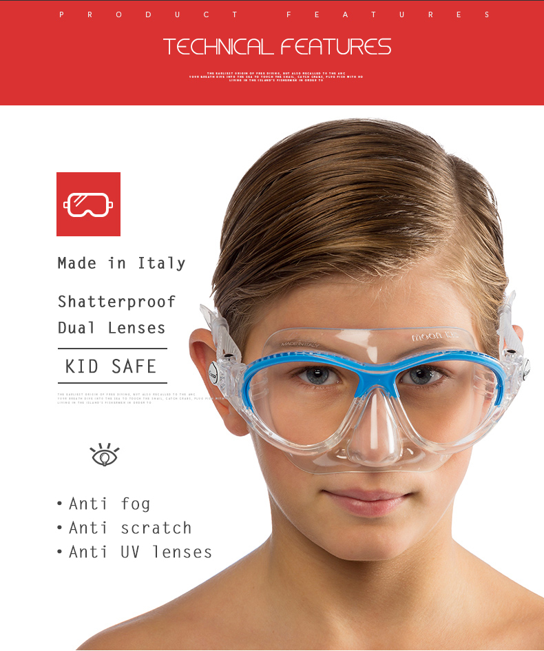 For Swimming and Diving Cressi MOON Kids Mask Ages 7-15 Made in Italy