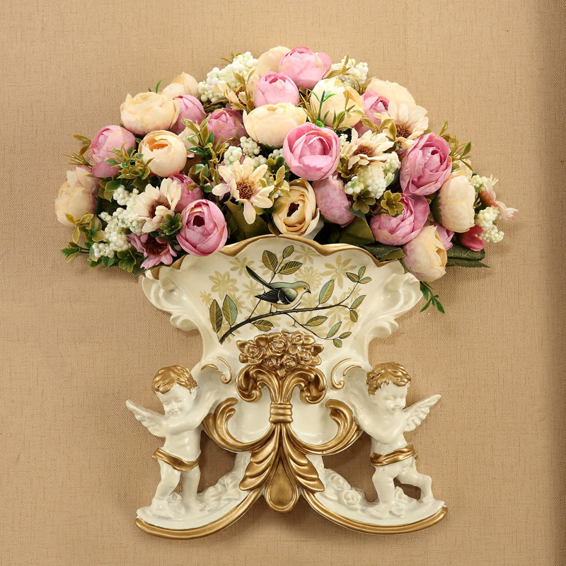 1 Set Artificial Flower Rose European Two Angels Wall Hanging Colored Drawing Resin Vase Wedding Home Decoration Fake Flowers(China)