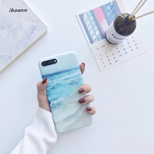 iboann IMD cartoon matte sea ocean wave soft gel luxury silicone tpu case for iphone 6 6s 6 s 7 8 plus X cases phone cover(China)