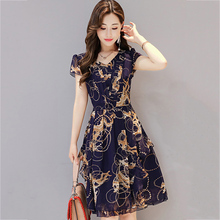 Buy Elegant Chiffon Dress Summer Women 2018 New Vintage V-neck Slim Print Dress Loose Trendy Women Clothes Casual Party Dress YM181 for $21.79 in AliExpress store