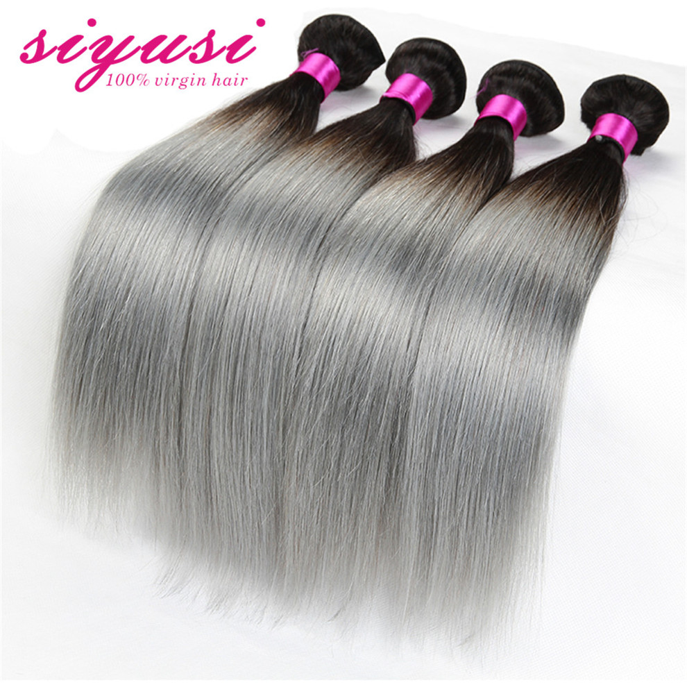 New Arrival Dark Roots Brazilian Grey Virgin Hair Straight Weave Ombre Silver Grey Human Hair Extensions 3 Pcs Lot #1B/Gray<br><br>Aliexpress