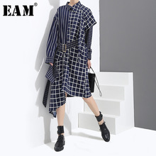 Buy EAM 2018 Spring Fashion Irregular Stitching Plaid Long Sleeve Shirt Type Dress Sashes Women Asymmetrical Neck YC173 for $26.10 in AliExpress store