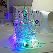 Hottest 3D Crystal Jigsaw Model Kids Christmas Gift DIY Castle IQ Toy Music Flash DIY Castle Transparent Building Blocks(China)