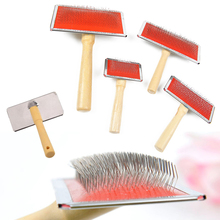 2017 New Pet Dog Cat Hair Gilling Beauty Wooden Handle Grooming Slicker Trimmer Comb Brush pet cleaning tools Supplies Product
