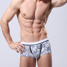2017 Fashion Men Cotton printed cartoon Boxers Shorts Sexy Casual U Convex Underwear Gay Male Low Waist Shorts Panties