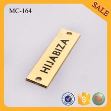 MC164 Manufacture personal name letter scarf accessory metal brand tag and logo label