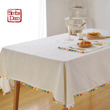 Nordic Colorful Balls Tassels Table Cloth Covers For Wedding Christmas Party Decoration Cotton White Tableclothes rectangular