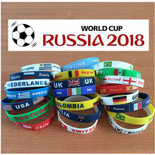 2pcs 41 Country World Cup Flag Logo Sport Wristband Football Fans Silicone Elastic Wrist Band ID Bracelet Souvenir Gift 2018(China)