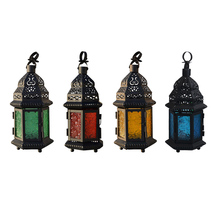 1 PC New Design Glass Metal Moroccan Delight Garden Candle Holder Table/hanging Lantern T15