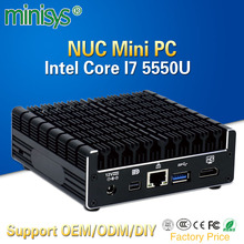 Newest Intel core i7 5550u NUC mini pc support 2g 4g 8gb ram, desktop pocket computer with 3 usb3.0 wifi and BT can be optional