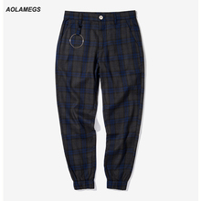Aolamegs Men Casual pants Dark plaid England Vintage Style Jogger pants High street Fashion Sweatpants Iron ring Plaid Trousers
