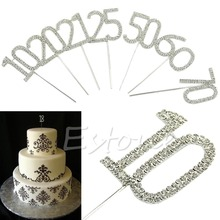 S-home New Crystals Sparkling Rhinestone Birthday Wedding Anniversary Numbers Cake Topper MAR6(China)