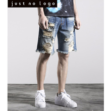 Mens Summer Distressed Destroyed Denim Jeans Shorts Ripped Bleached Blue Bermuda Jogger Casual Frayed Knees Length Shorts