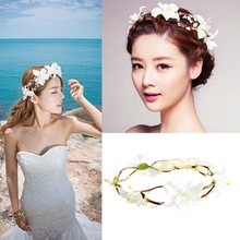 Lily Flower Crown Headband Beach Festival Holidays Floral Garland Hairband(China)