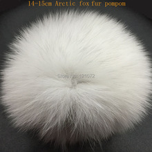 DIY 14-15cm big Fox Fur pompoms Elegant Fur balls for knitted hat cap winter beanies and keychain and scarves real fur pom poms(China)