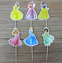24 pcs/lot Lovely princess Cinderella Cupcake Toppers Pick casamento Charming princess Cinderella kids birthday party supplies