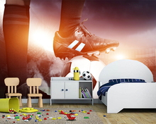 Custom football wallpaper, trample football player mural for children's room KTV bar background wallpaper home decoration(China)