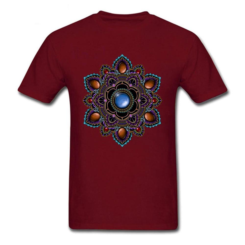 Printed On Tops Tees Cheap O-Neck Comics Short Sleeve Cotton Man T Shirts Customized T Shirt Drop Shipping Purple and Teal Mandala with Gemstones 15622 maroon