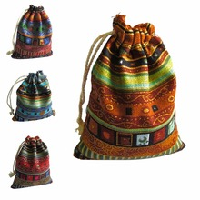 10Pcs Cotton Jewelry Bags 10Pcs Ethnic Gift Bags Stripe Tribal Tribe Drawstring Bags Christmas Jewelry Pouches 9.5*12cm(China)