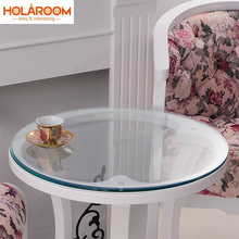 Round Transparency PVC Tablecloth Soft Glass Table cloth Waterproof Oilproof Placemat Pad Dia 60-110cm Home Kitchen Diningroom(China)