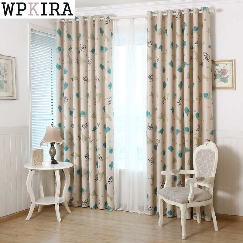 Cartoon Style Printed Curtains for Children Blackout Cloth Nursery Sheer Tulle Curtains Cotton Kids Blinds Bedroom 137&30