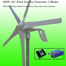 Hot Selling 5 Blades 400W 24V Wind Turbine Generator With PWM Wind Solar Hybrid Controller & 1KW Pure Sine Wave Inverter