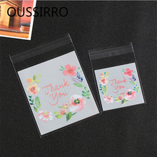 100pcs Thank You Flower Plastic Cookies Packaging Bags Food Candy Gift Bag Happy New Year Christmas Favors Food Packing Bag