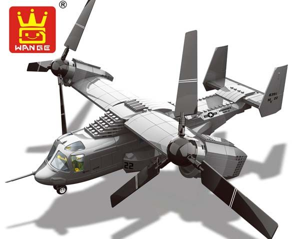 593PCS The V22 Osprey Tiltrotor Double Seats Classic Military Aircraft Model Helicopter Pilot Figures Block Bricks Toys JX006<br>
