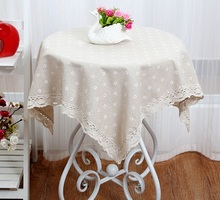 2017 New Large Plaid Floral Cotton Linen Square Custom Round Tablecloth Waterproof Oilproof Tablecover Pastoral Style Lace Cover