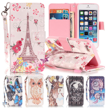 3D Butterfly Designer Flip Case For Apple iPhone 5 Case Cartoon Painting Wallet Cover For Fundas iPhone 5s Leather Case Coque(China)