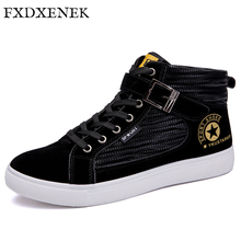 FXDXENEK Men Canvas Shoes 2017 Fashion High top Men's Casual Shoes Breathable Man Lace up Flats Brand Shoes Black Sneakers Men(China)
