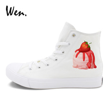 Wen Food Design Canvas Shoes Blueberry Strawberry Ice Cream Original High Top Sports Sneakers Men Women Skateboarding Shoes(China)