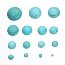 Half Round Synthetic Turquoises 3/4/6/8/10/11/12/13/14/15/16/17/18/20/22/25/30/35 MM Flat Back Cabochons Dyed Howlite Beads(China)