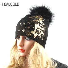 HEALCOLD Winter Fur Hats For Women Ladies Butterfly Print Wool Knitted Hat Cap Fur Pompom Beanies Skullies(China)