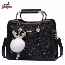 JUST STAR Women's PU Leather Handbag Ladies Cartoon Antlers Ornaments Tote Shoulder Purse Female Beading Messenger Bags JZ4573(China)