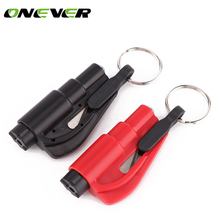 3 in 1 Car keychain Emergency Safety Hammer Auto Car Window Glass Breaker Seat Belt Rescue Hammer Escape Tool(China)