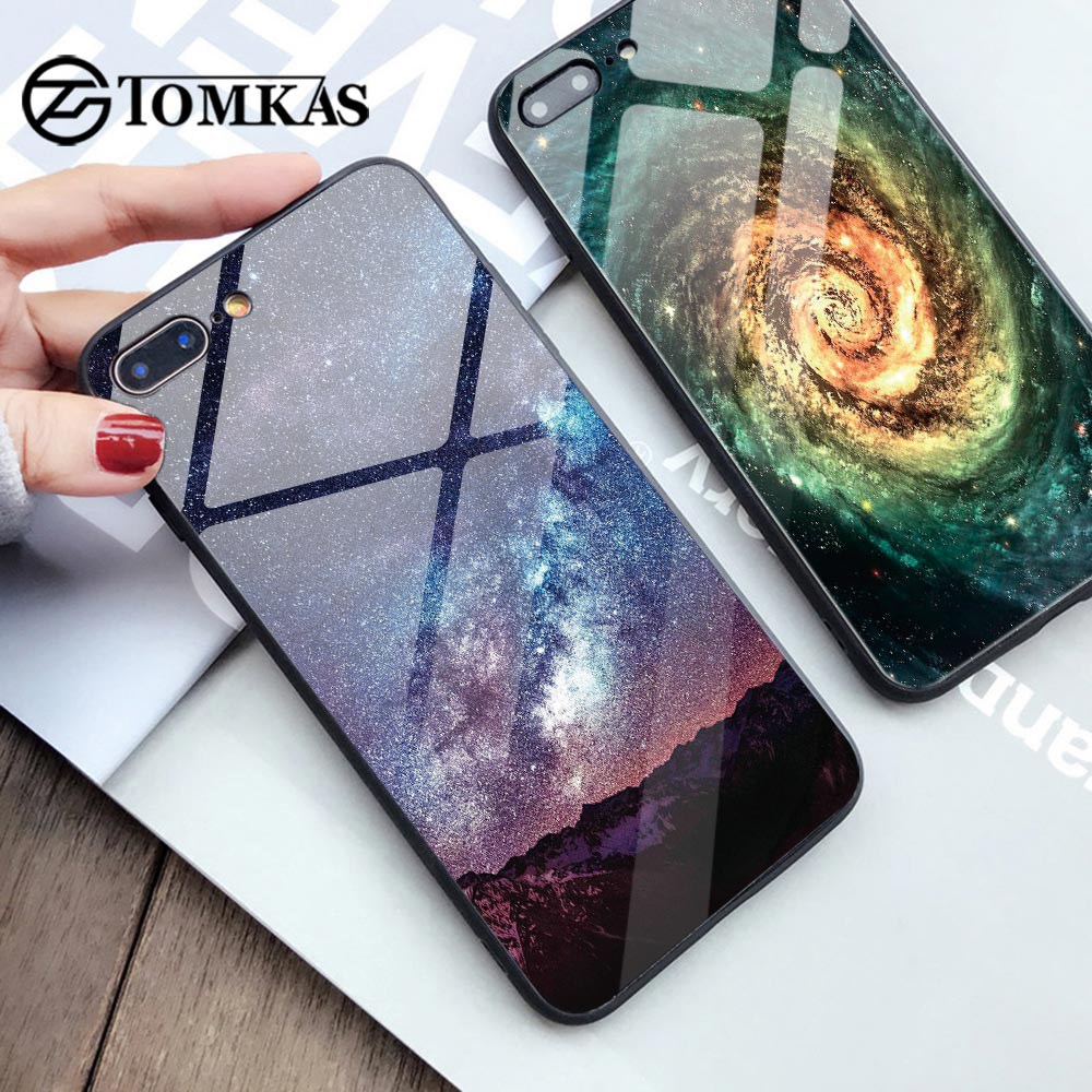 TOMKAS Glass Phone Case For iPhone X 7 8 10 6 s XS Star Space Cover Case For iPhone 8 7 6 6s Plus X Luxury Case Silicone Coque 6(China)