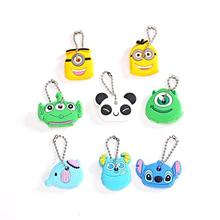 High quality  Kawaii Cartoon Animal Silicone Key Caps Covers Keys Keychain Case Shell Novelty Item Birthday Gift free shipping