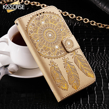 KISSCASE For Samsung Galaxy S6 Edge Plus S7 Edge Mobile Phone Case Chic Embossing Campanula Diamond Case Card Slot Wallet Cover