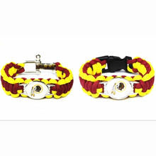 Hot Selling USA Football Fans Washington Redskins Charm Paracord Survival Bracelet Friendship Outdoor Camping Bracelet 10pcs/lot(China)