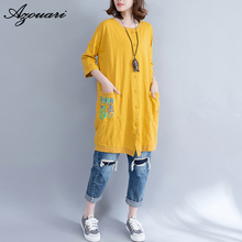 azouari plus size women clothing 2017 summer new big size bamboo cotton comfortable printed long paragraph cardigan T-shirt
