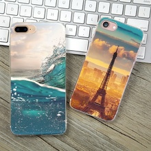 For iPhone 5S Soft TPU Case Cover For Apple iPhone 5 5S SE Cases Phone Shell Wholesale Price Painting Ocean Iron Tower Silicon