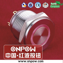 ONPOW 16mm super flat surface momentary illuminated push button switch GQ16PF-10E/J/R/12V/S(China)