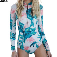 2017 Long Sleeves Rash Guard Women Surf Swimwear Floral One Piece Swimsuit For Diving UV Swimming Shirt Plavky Rashgard Wetsuits